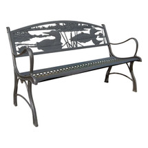 Loon Cast Iron Garden Bench | Painted Sky