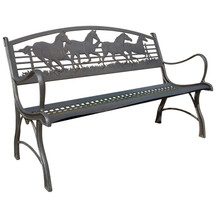 Running Horse Cast Iron Garden Bench | Painted Sky | PSPB-IRH-100BR