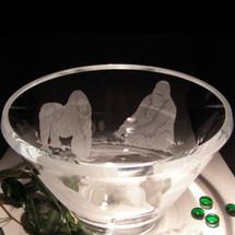 Gorilla Scene Luminous Crystal Bowl | Evergreen Crystal | EC101-AF38