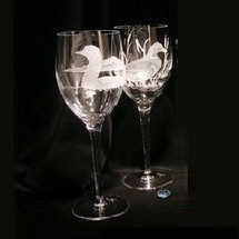 Loon Crystal 13 oz Wine Glass Set of 2 | Evergreen Crystal | eci116c