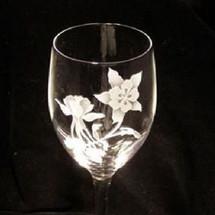 Columbine Flower Crystal 13 oz Wine Glass Set of 2 | Evergreen Crystal | ECI116columbine