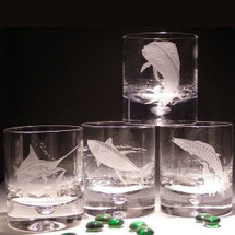 Game Fish Crystal Cocktail Glasses Set of 4 | Evergreen Crystal | ECI11FISHSET