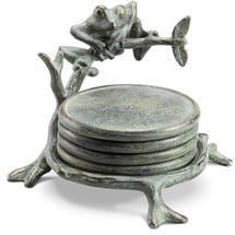 Frog on Branch Coaster Set With Stand | 34182 | SPI Home