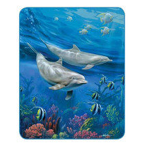 Dolphins Medium Weight Faux-Mink Blanket | DUKDB5269-2
