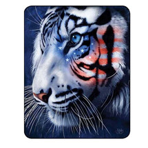 White Tiger Blanket White Stripes Patriotic Tiger