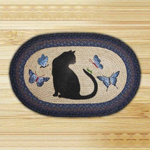 Cat Grasshopper Oval Patch Braided Rug | Capitol Earth Rugs | CEROP-100