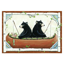 Bears in Canoe Area Rug
