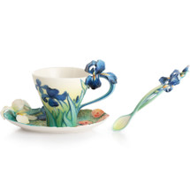Van Gogh Iris Flower Cup Saucer Spoon | FZ02453 | Franz Porcelain Collection
