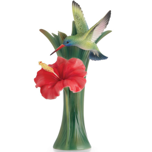 Hummingbird Hibiscus Vase | FZ02582 | Franz Porcelain Collection