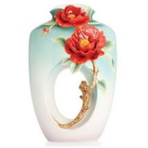 Red Camellia Flower Porcelain Vase