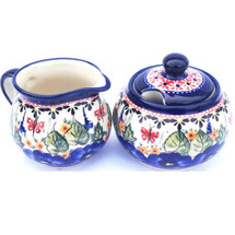 Red Butterfly Creamer and Sugar Set 208AR Unikat | Pottery Avenue