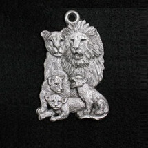 Lion Family Pewter Ornament
