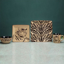 Tiger Dinnerware (2) 4 Piece Place Settings