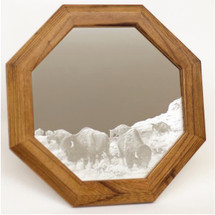 "Buffalo Oak Mirror ""Into the Herd"" 