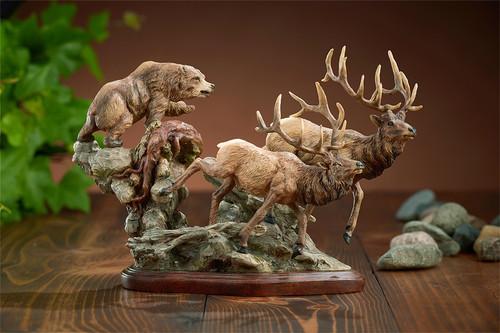 Elk And Bear Encounter Sculpture Danny Edwards