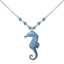 Blue Seahorse Cloisonne Small Necklace | Bamboo Jewelry | bj0030sn
