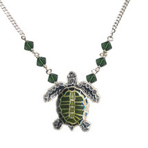 Olive Ridley Sea Turtle Cloisonne Small Necklace | Bamboo Jewelry | BJ0075sn