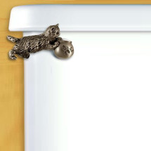 Kitten Toilet Flush Handle Satin Pewter | Functional Fine Art | ffa00106SP