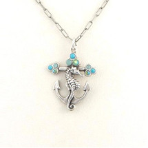 Seahorse and Anchor Il Mare Turquoise Necklace   La Contessa Jewelry   LCNK8762tq
