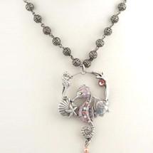Seahorse Sea Life Hoop Rose Necklace   La Contessa Jewelry   LCNK8764ro