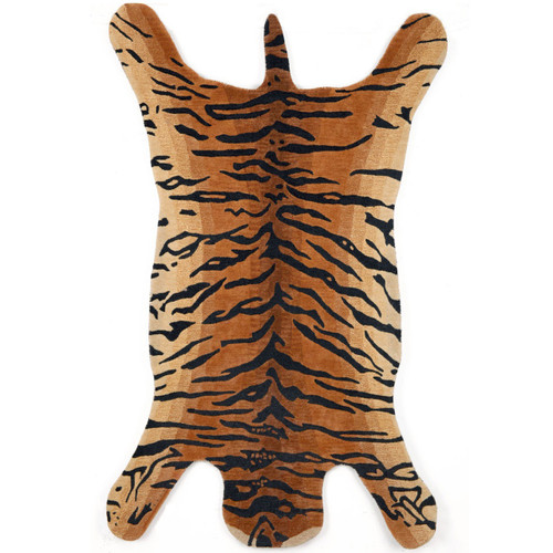 Tiger Shape Area Rug Wool Tiger Print Rug