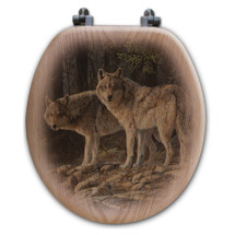 "Wolf Toilet Seat ""Shades of Gray"" 