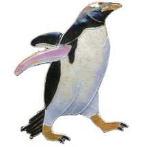 Gentoo Penguin Cloisonne Pin | Bamboo Jewelry