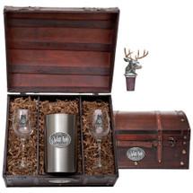 Whitetail Deer Wine Chest Set | Heritage Pewter | HPIWSC114