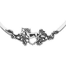 Horse Sterling Silver Filagree Necklace   Kabana Jewelry   KNK312 -2