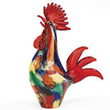 Rooster Art Glass Sculpture