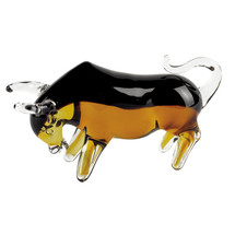 Bull Art Glass Sculpture