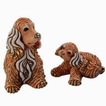 Cocker Dog and Puppy Ceramic Figurine Set | De Rosa | Rinconada | DERF190-F390