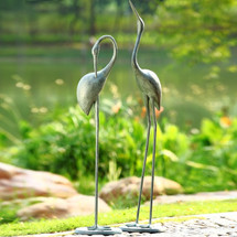 Crane Garden Pair Sculpture