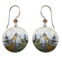 Wolf  With Moon Bamboo Cloisonne Wire Earrings | Bamboo Jewelry | BJ0071e