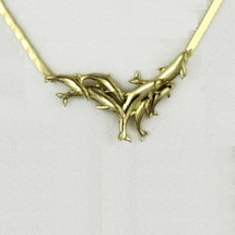 Pod of Dolphins 14K Gold Collar Necklace | Kabana Jewelry | GNK009