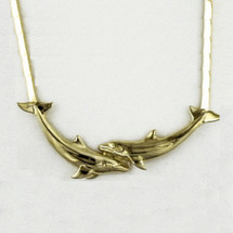 Double Dolphin Large 14K Gold Collar Necklace | Kabana Jewelry | GNK042