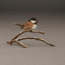 "Chickadee Bronze Sculpture ""Snowfall"" 