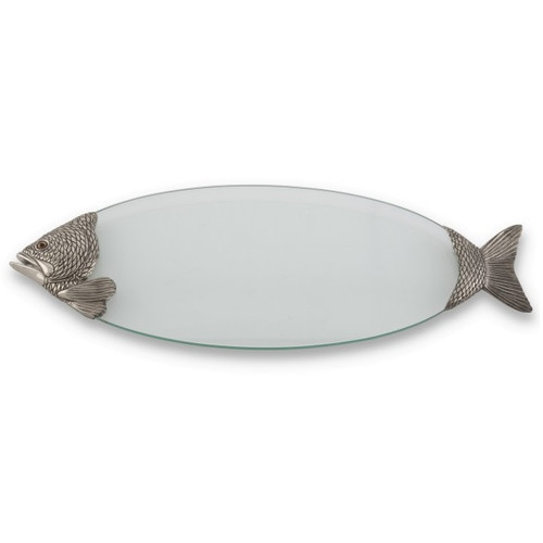 Fish serving tray glass pewter vagabond house for Fish serving platter