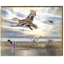 Mallards In Flight Wood Wall Art | Mill Wood Art |  MAL1