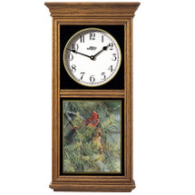 Cardinals in Pine Oak Wood Regulator Wall Clock | Wild Wings