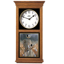 Chickadees Oak Wood Regulator Wall Clock | Wild Wings