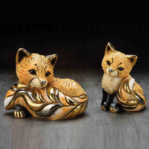 Red Fox and Baby Ceramic Figurine Set | De Rosa | Rinconada | F199-F399