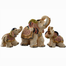 White Asian Elephant and Babies Ceramic Figurine Set | De Rosa
