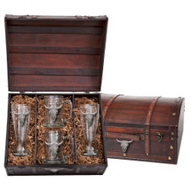 Longhorn Cattle Beer Glass Chest Set | Heritage Pewter | HPIBCS3270
