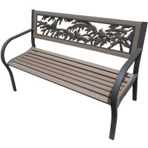 Cardinals 2-Tone Tube Steel Outdoor Bench | Painted Sky