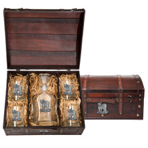 Tiger Capitol Decanter Chest Set | Heritage Pewter