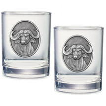 Cape Buffalo Double Old Fashioned Glass Set of 2 | Heritage Pewter | HPIDOF239