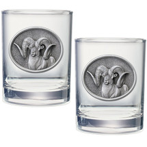 Ram Double Old Fashioned Glass Set of 2 | Heritage Pewter | HPIDOF240