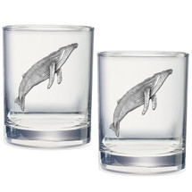 Humpback Whale Double Old Fashioned Glass Set of 2 | Heritage Pewter | HPIDOF3380