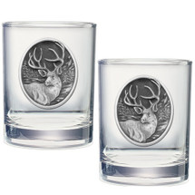 Mule Deer Double Old Fashioned Glass Set of 2 | Heritage Pewter | HPIDOF210